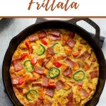 Pinterest image with a close up view of a sweet potato frittata in a cast iron skillet.