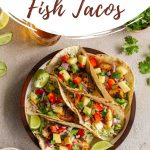 Pinterest image of air fryer fish tacos.