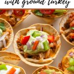 Pinterest image of taco cups with ground turkey.