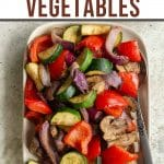 Pinterest image of air fryer vegetables on a plate.