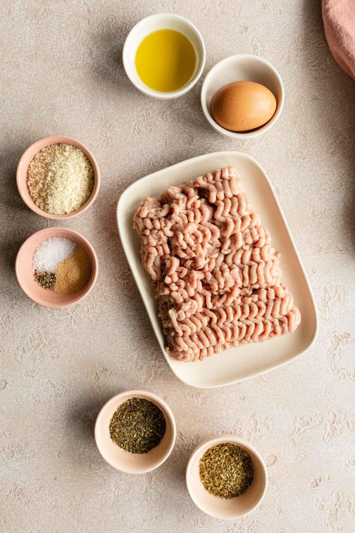 Overhead view of ingredients to make air fryer turkey burgers.