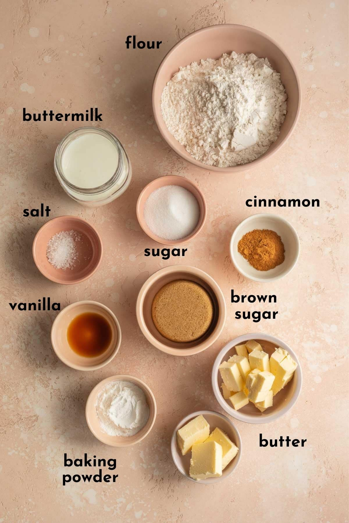 Ingredients to make cinnamon rolls arranged individually and labelled.