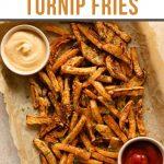Pinterest image for air fryer turnip fries.